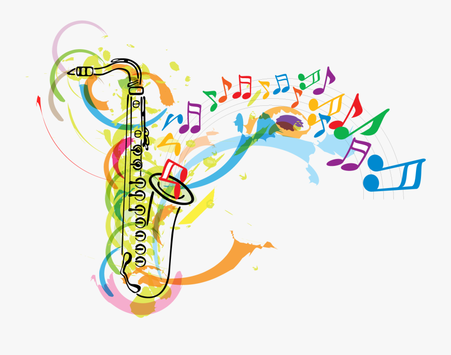 Saxophone Musical Note Clip Art - Music Notes And Instruments Clip Art, Transparent Clipart