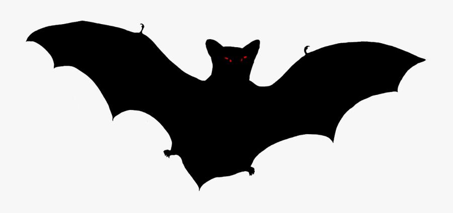 Scary Halloween Bat Silhouette - Vampire Bat, Transparent Clipart