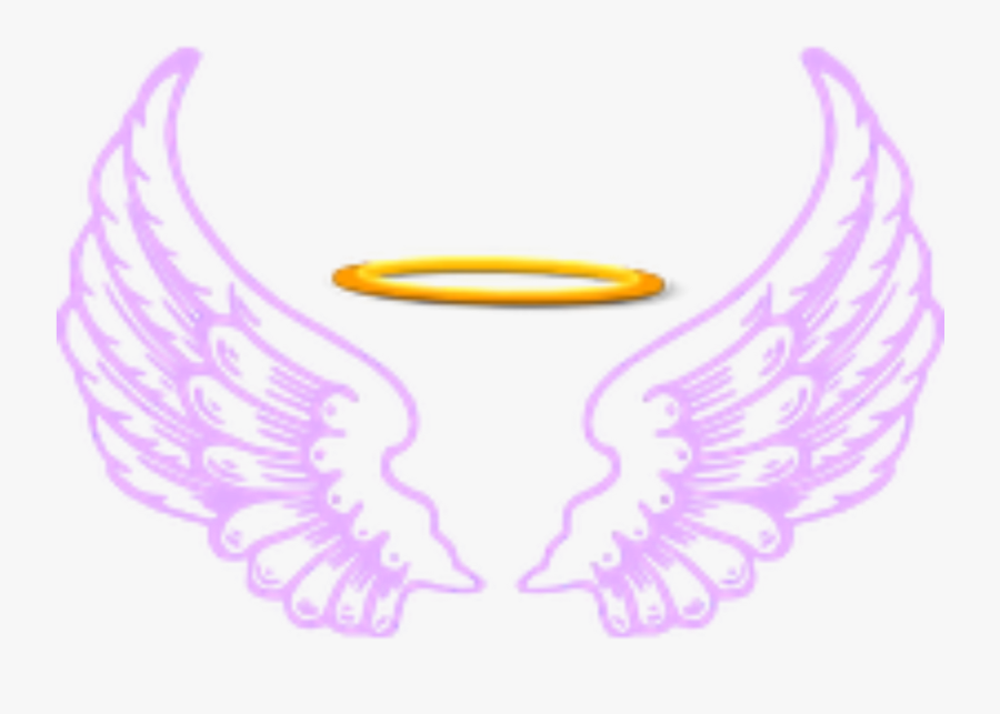 Ftestickers Fantasyart Angel Wings Halo Purple - Angel Wing And Halo Png, Transparent Clipart