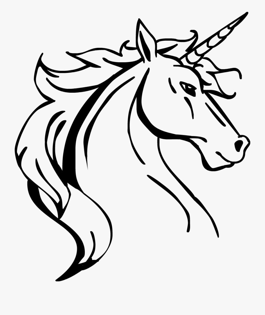 Aluminum Baseball Bat Clip Library Library Line Drawing - Unicorn Head Line Drawing, Transparent Clipart