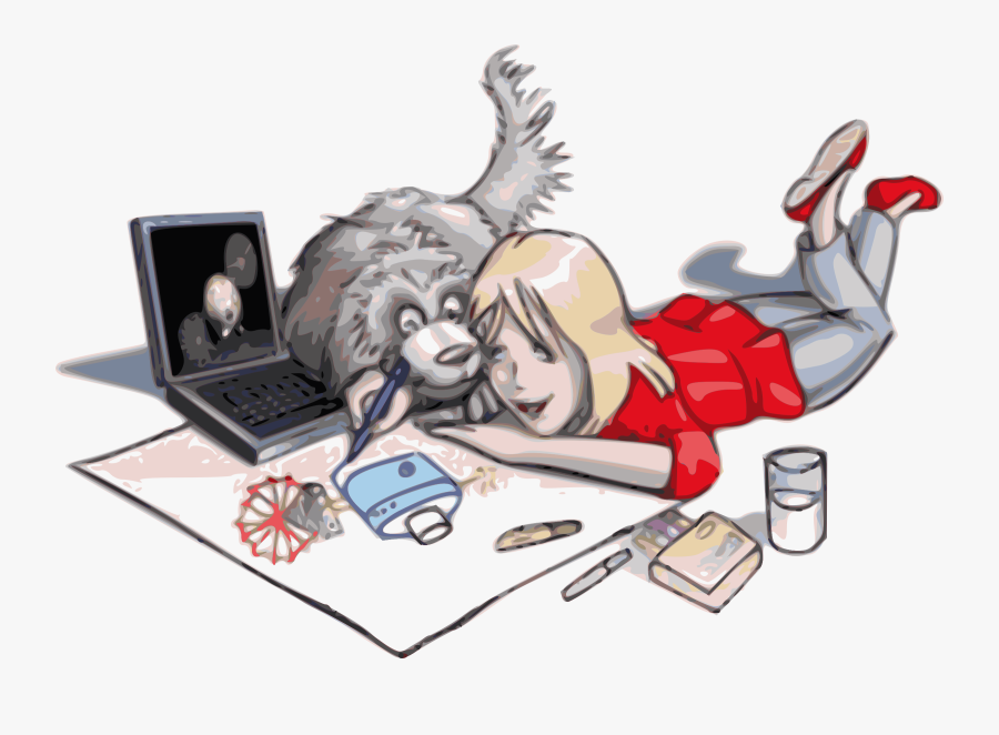 Drawing Clipart Art Drawing - Dog With Girl Drawing, Transparent Clipart