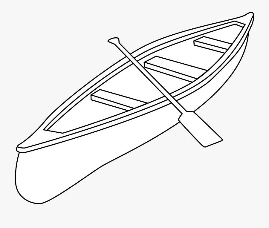 Canoe Coloring Page, Transparent Clipart