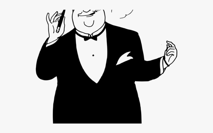 Tie Clipart Fat - Fat Man In Suit Cartoon, Transparent Clipart