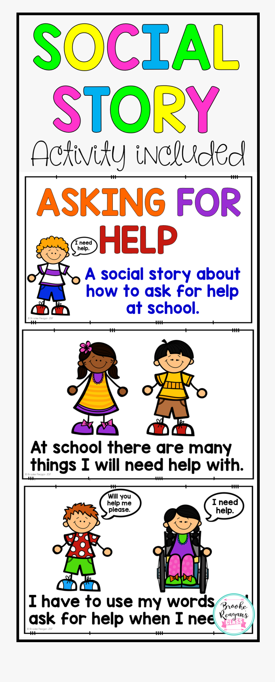 Transparent Social Story Clipart - Ask For Help At School, Transparent Clipart