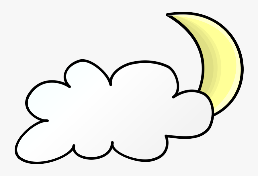 Transparent Fun Night Clipart - Weather Symbol For Cloudy Night, Transparent Clipart