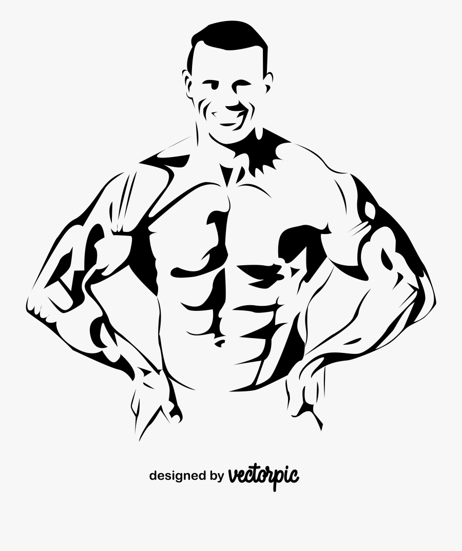 Body Builder Men Png Vector, Transparent Clipart