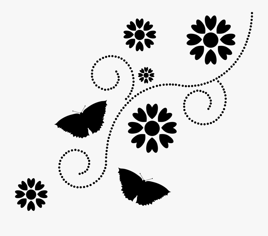 This Free Icons Png Design Of Floral Butterflies - Transparent Silhouette Of Flowers, Transparent Clipart