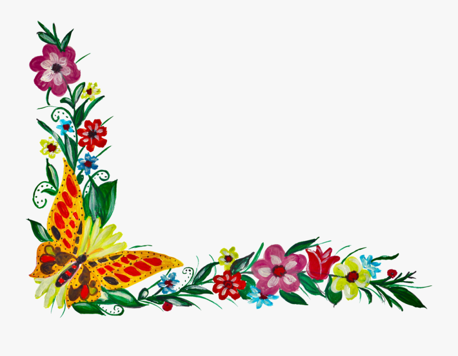 5 Flower Butterfly Corner - Corner Flower Designs Transparent, Transparent Clipart