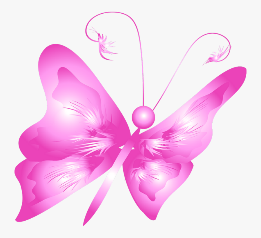 Free Clipart Of Flowers And Butterflies - Mariposa Fucsia Png, Transparent Clipart