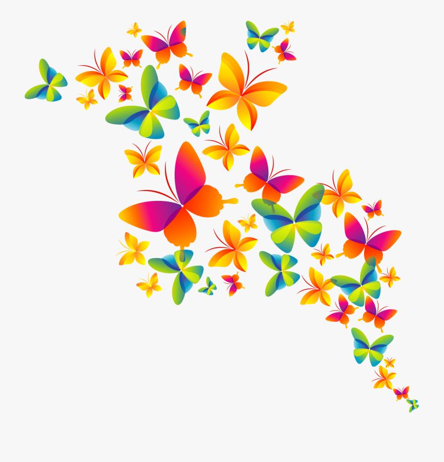 Butterfly Color Cmyk Holi Model Happy Clipart - Fundo Colorido Com Borboletas, Transparent Clipart