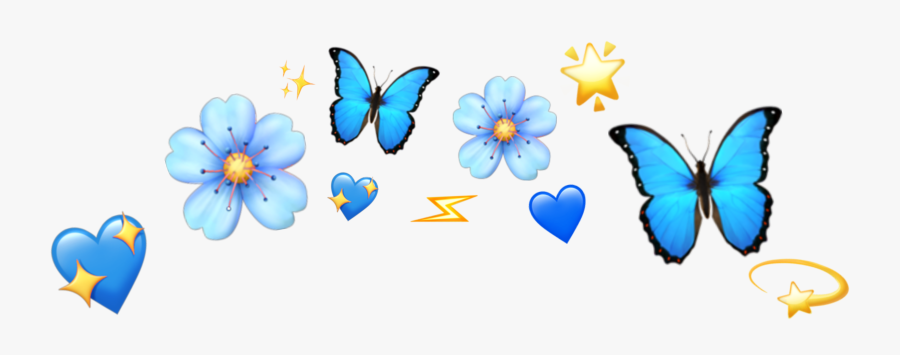 Blue Emoji Flower Crown, Transparent Clipart