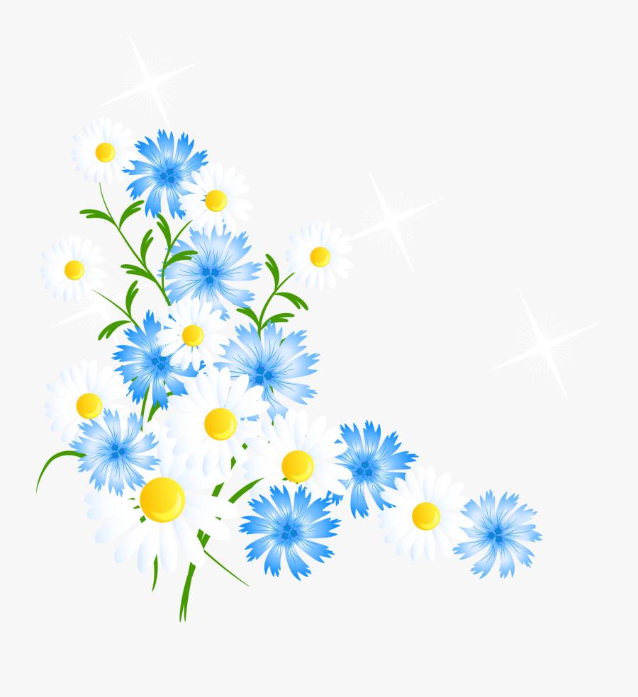 Clip Art Butterfly Flower Clip Art - Blue And Yellow Flowers Clipart, Transparent Clipart