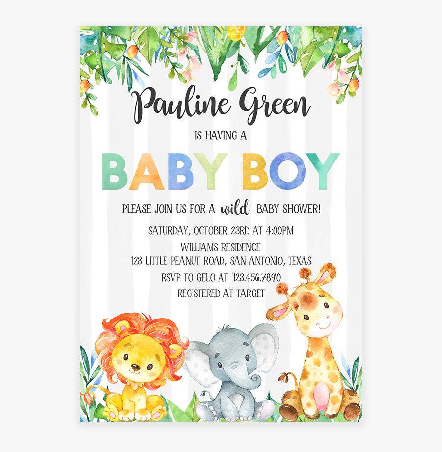 Clip Art Giraffe Baby Shower Invitations - Safari Baby Shower Png, Transparent Clipart