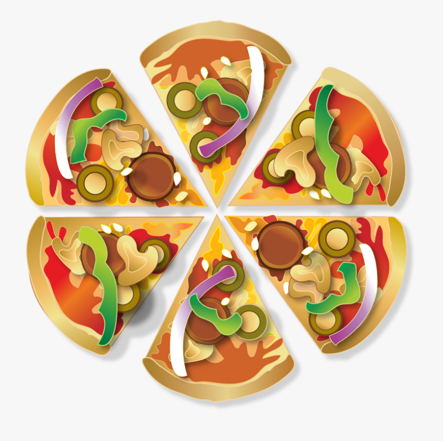 Clipart Pizza With 6 Slices, Transparent Clipart