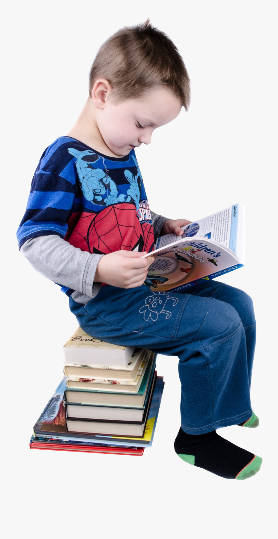 Boy Reading Books Png Image - Children Sitting Reading, Transparent Clipart