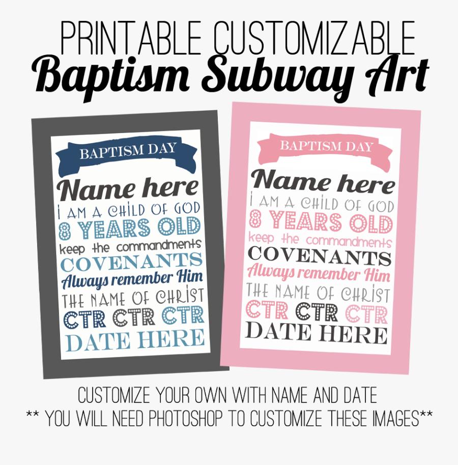 Subway Art Customize It - Lds Baptism Boy Free Printables, Transparent Clipart