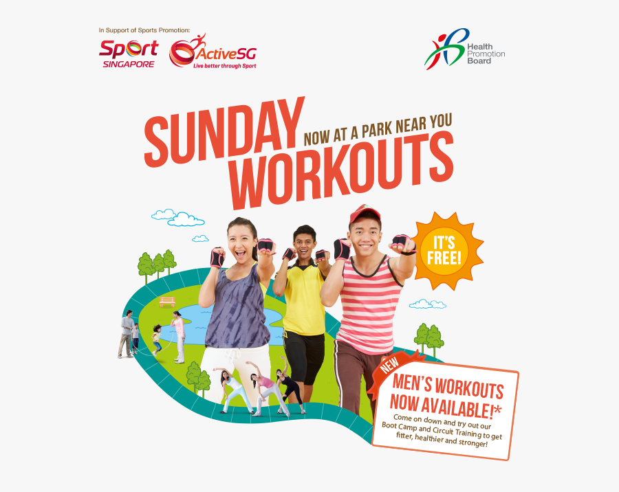 Get Active With Your Family And Friends Every Sunday - Health Promotion Board Exercise, Transparent Clipart