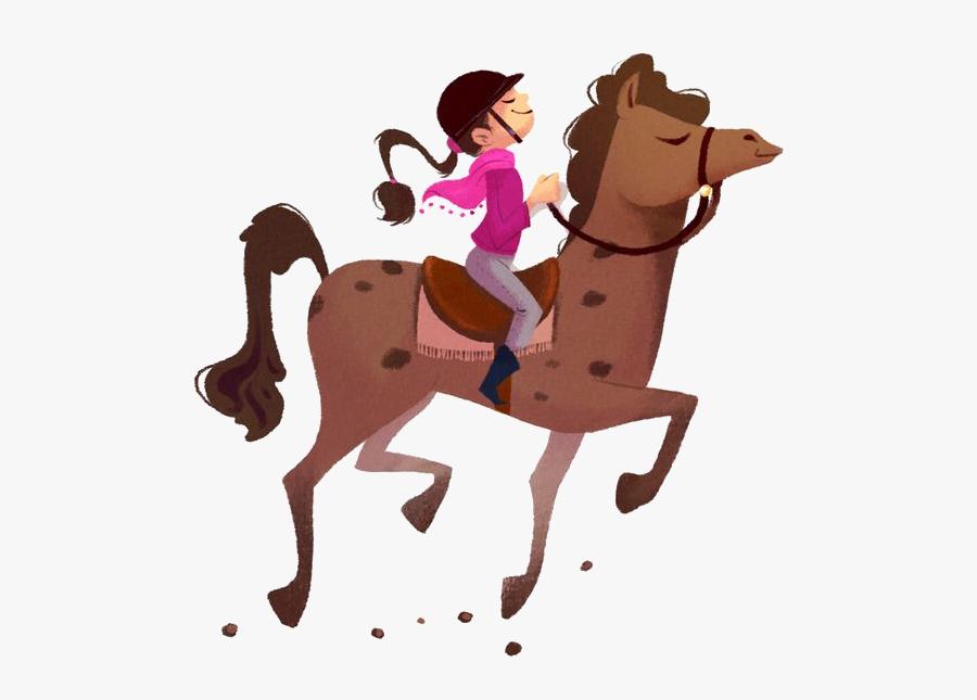Horse Pony Equestrianism Clip Art - Girl Riding A Horse Cartoon, Transparent Clipart