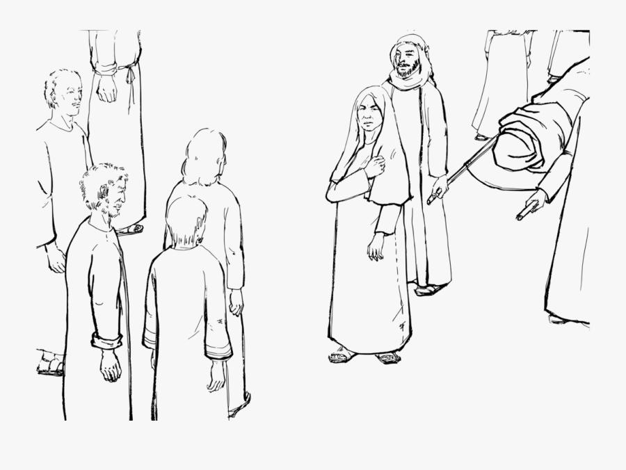 Emotion,art,people - Jesus Raises The Widow's Son Coloring Page, Transparent Clipart