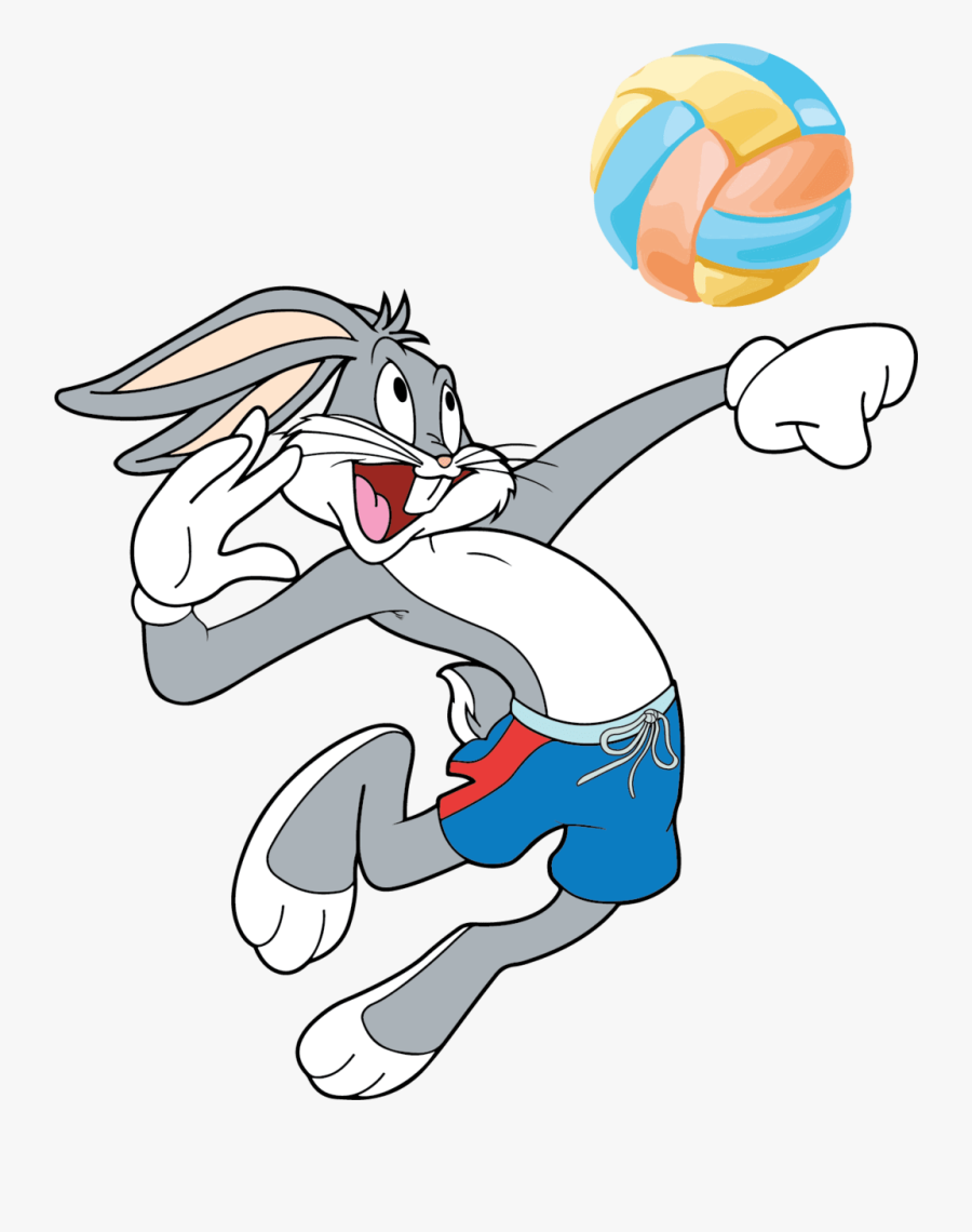 Transparent Volleyball Player Clipart - Bugs Bunny Playing Sports, Transparent Clipart