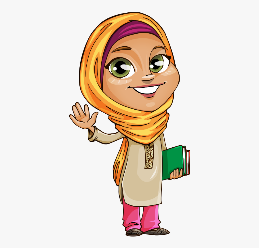 Finger Clipart Islam - Muslim Girl Cartoon, Transparent Clipart
