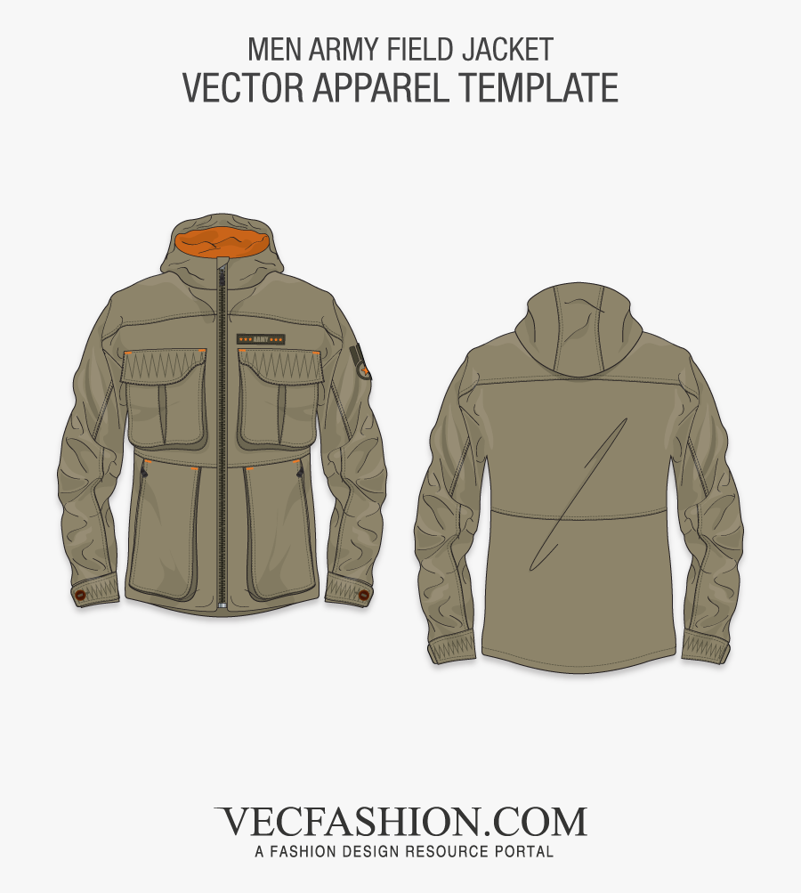 Image Free Library Army Field Template Vecfashion - Khaki T Shirt Template, Transparent Clipart