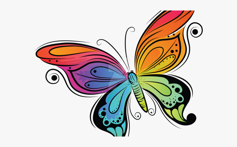 Transparent Cute Butterfly Clipart - Easy Colorful Butterfly Drawing, Transparent Clipart
