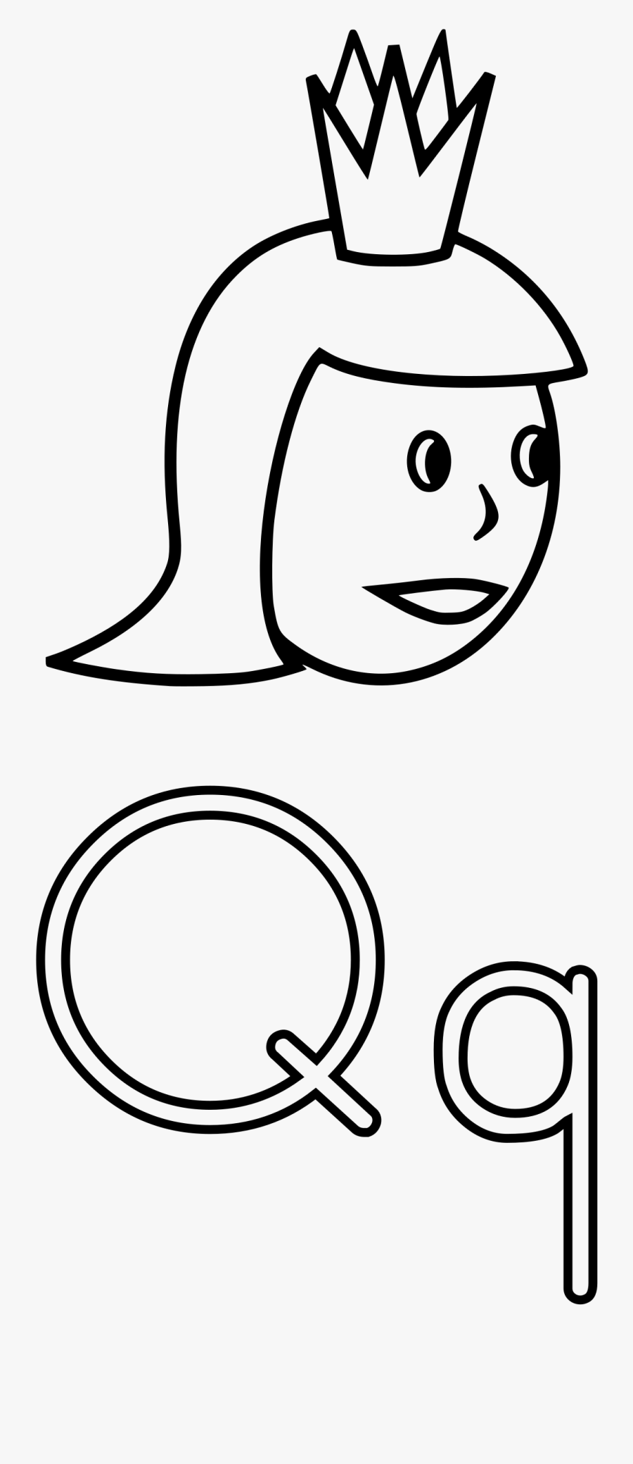 Q Is For Queen Clipart By Mazeo - Letter Q Color Sheets, Transparent Clipart