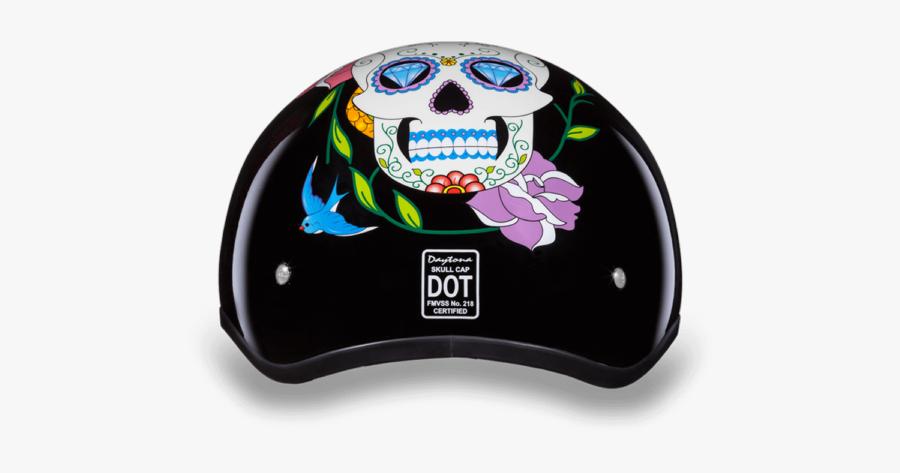 Daytona Women Diamond Sugar Skull Dot Skull Cap Motorcycle - Sugar Skull Motorcycle Helmet, Transparent Clipart