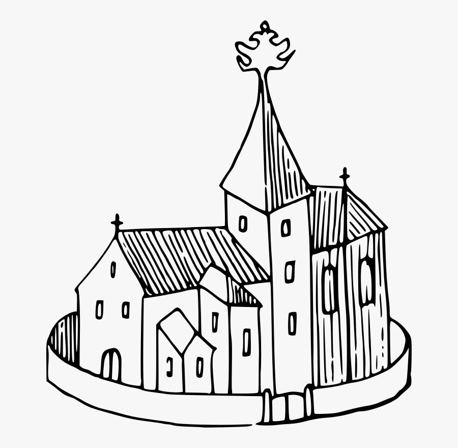 Line Art,watercraft,area - Drawing Clip Art Church Cartoon, Transparent Clipart