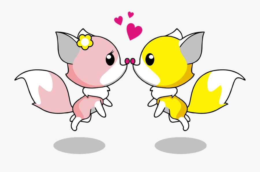 Anthropomorphized Animals, Cartoon, Couple - Animated Good Morning Kiss, Transparent Clipart