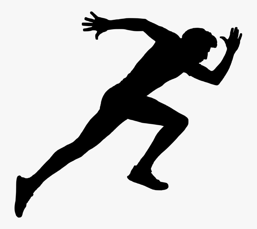Sprint Long-distance Running Track & Field - Running Man Silhouette White, Transparent Clipart