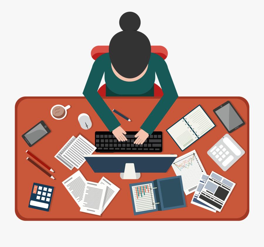 Business Illustration Vector Clipart - Graphic Designer Workplace Illustration, Transparent Clipart