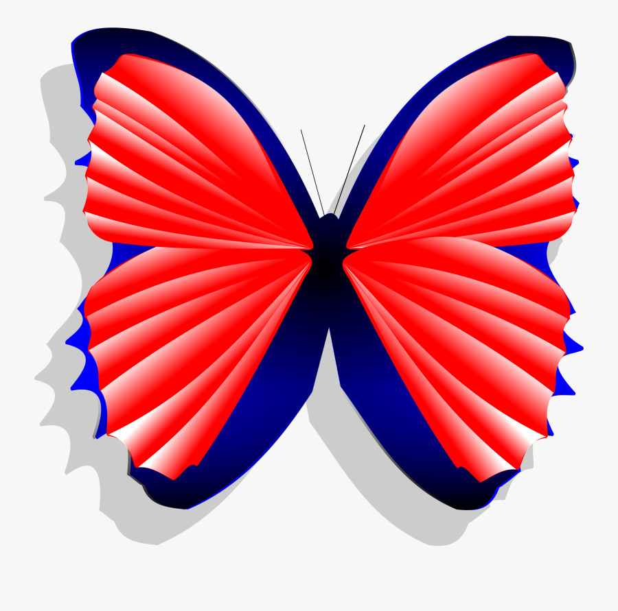 Blue And Pink Butterfly - Red Cartoon Blue Butterfly, Transparent Clipart