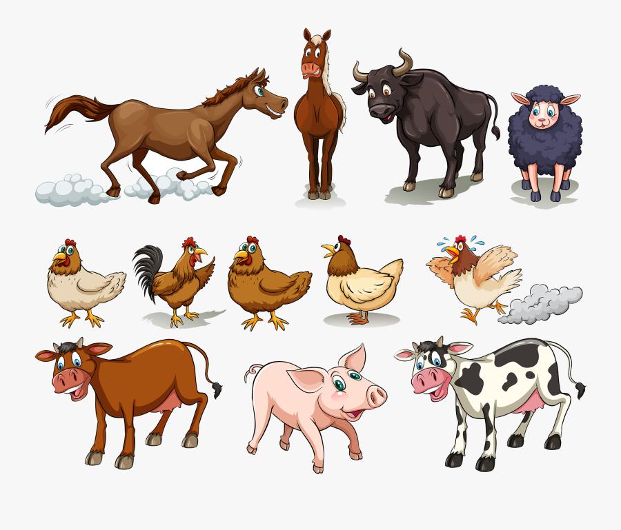 Transparent Farmyard Animals Clipart - Tipos De Animales De Granja, Transparent Clipart