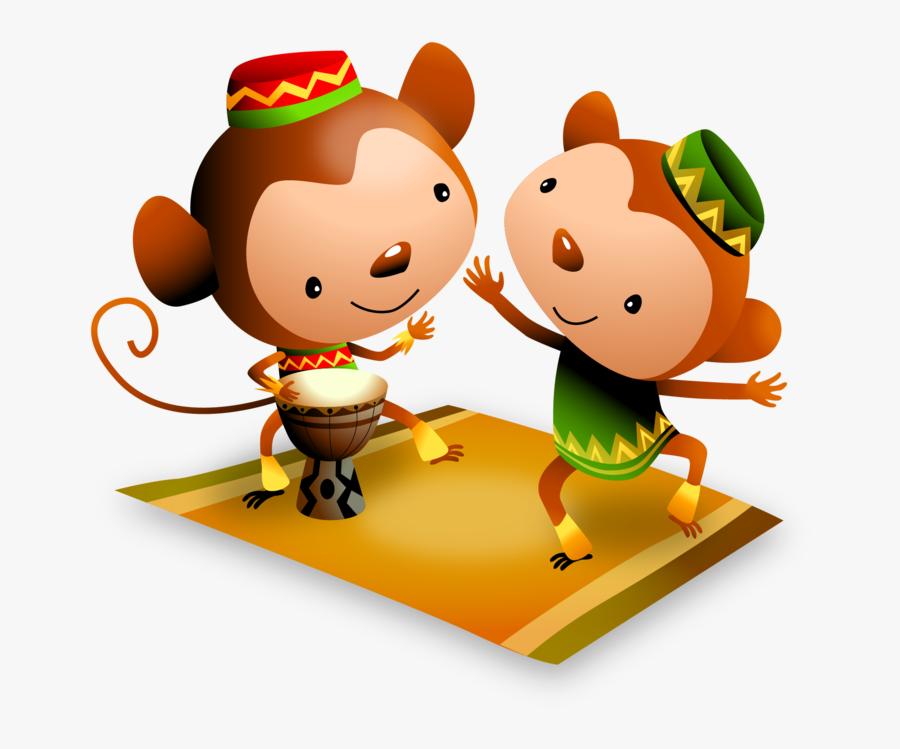 Kwanzaa Celebrating Monkeys Play Djembe Drum And Dance - Cartoon, Transparent Clipart