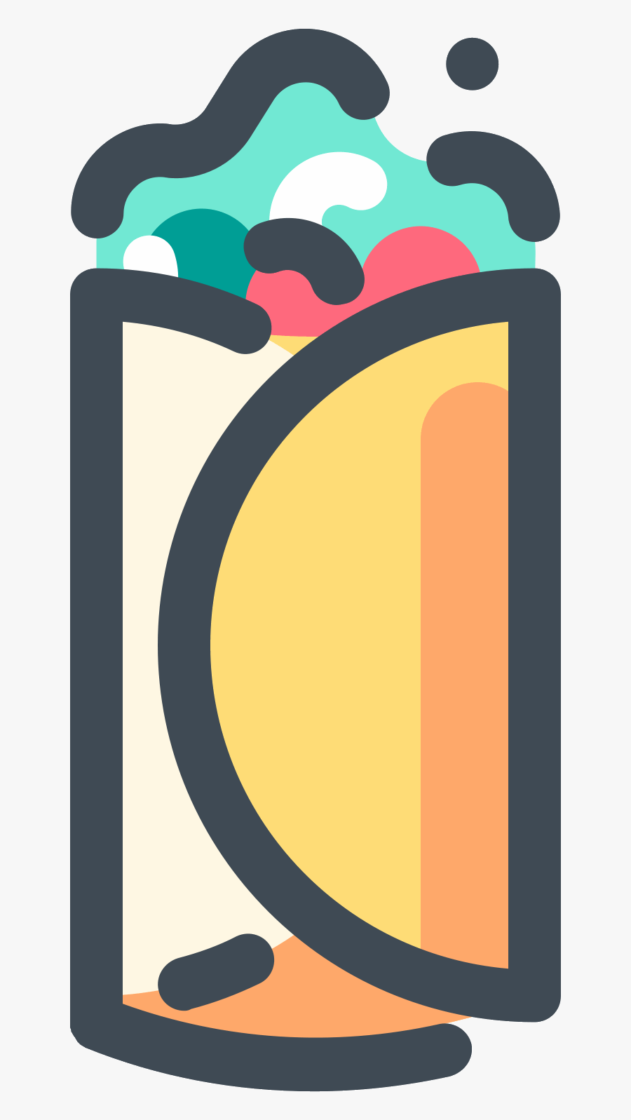 There Is An Oblong Food Object Made Up Of A Tortilla - Food Icon Png, Transparent Clipart