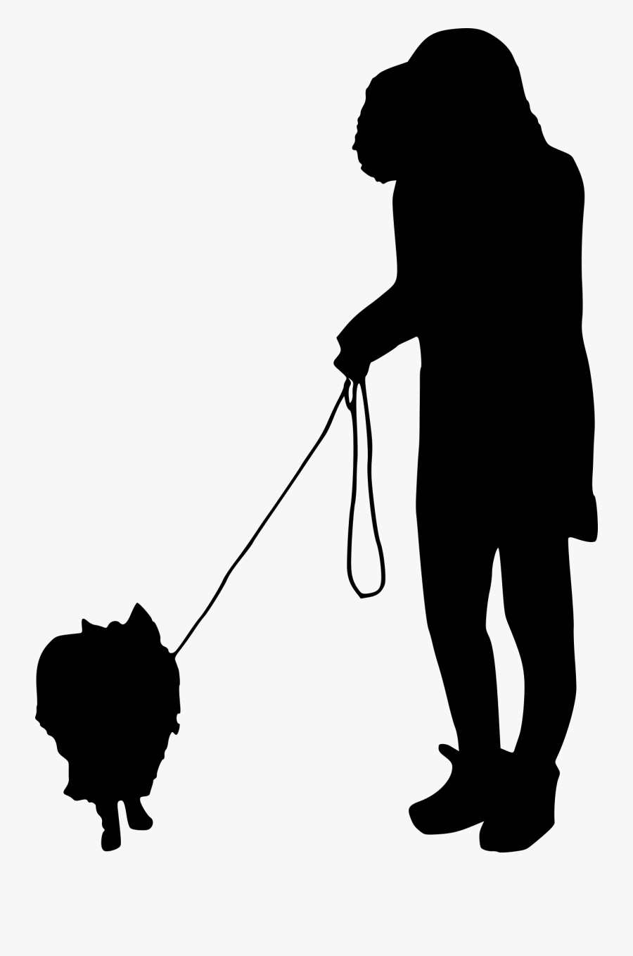 People Silhouette Png Walking Clipart , Png Download - Girl Walking Dog Png Silhouette, Transparent Clipart