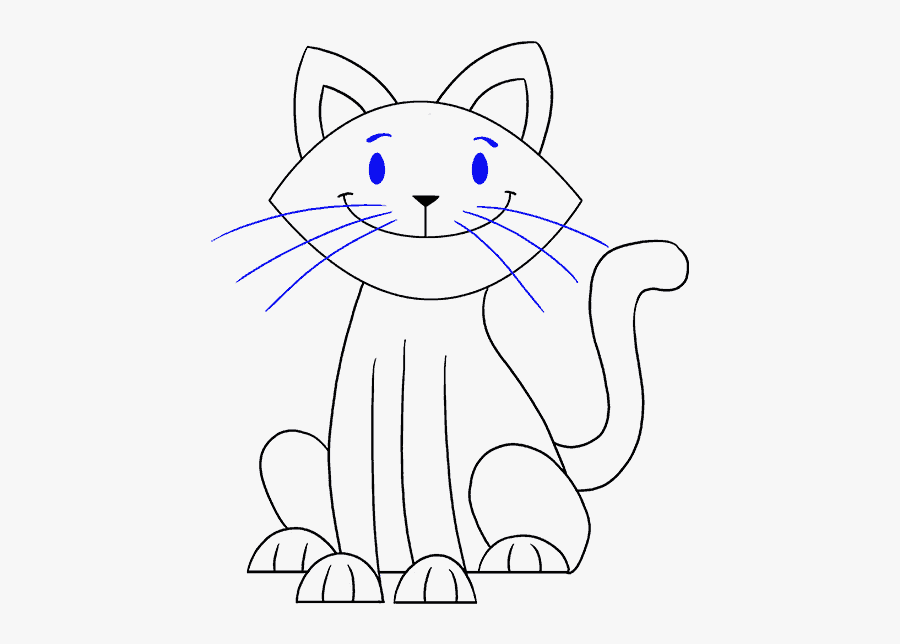 Clip Art How To Draw A - Kitten Drawing Easy, Transparent Clipart