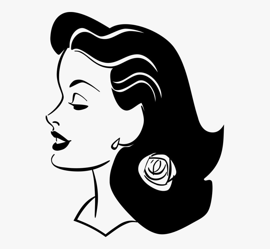 Emotion,art,monochrome Photography - Female Smiling Profile Drawing, Transparent Clipart