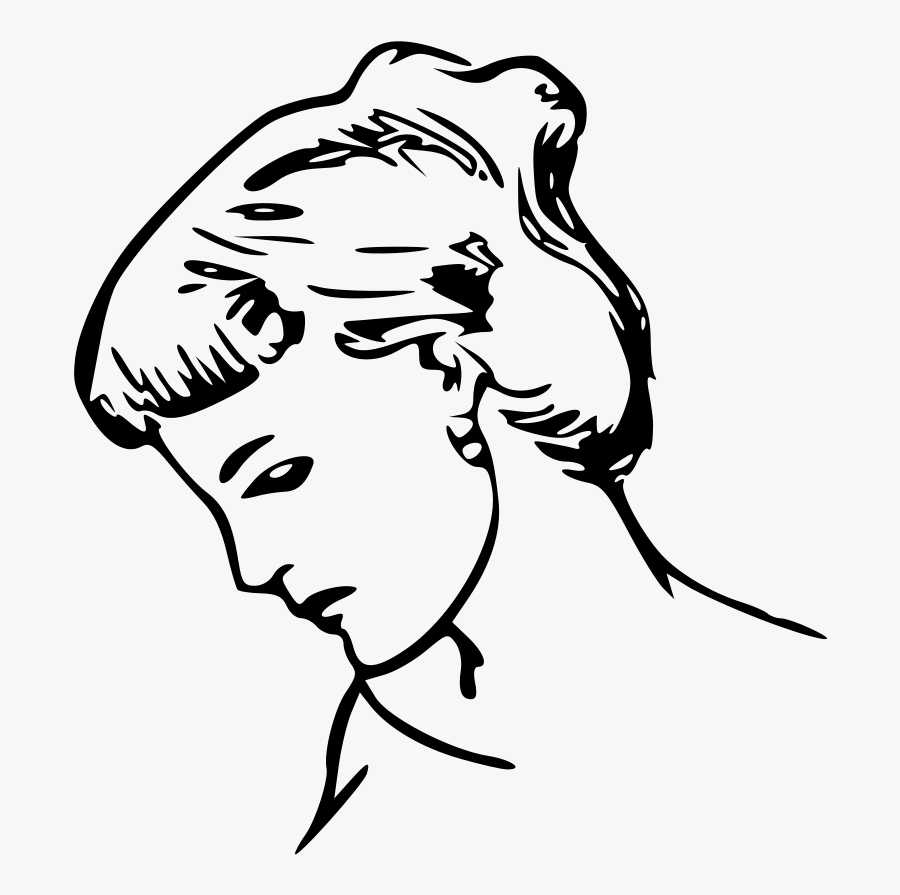 Female Profile Drawing Svg Clip Arts - Female Profile Line Drawing, Transparent Clipart
