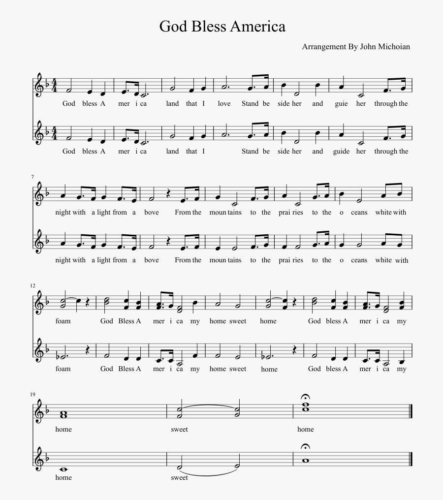 God Bless America Sheet Music Composed By Arrangement - Pdf Free Printable God Bless America Sheet Music, Transparent Clipart