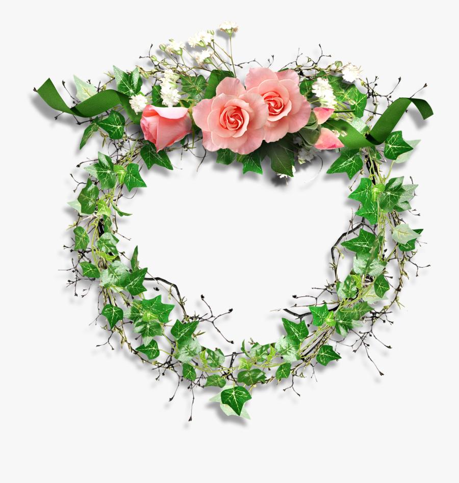 Green Roses Frame Png, Transparent Clipart