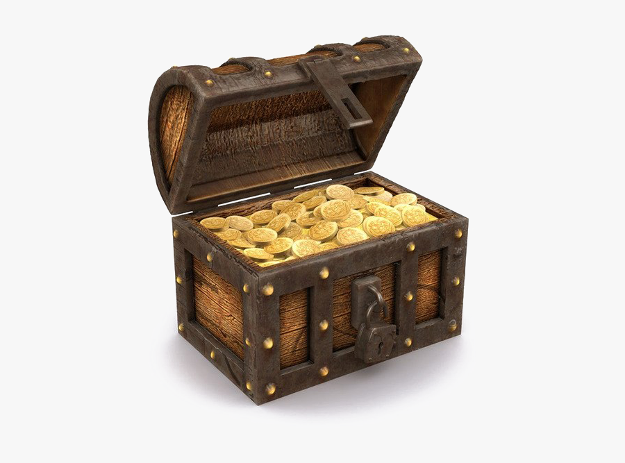 Opened Treasure Chest Png - Gold Pirate Treasure Chest, Transparent Clipart