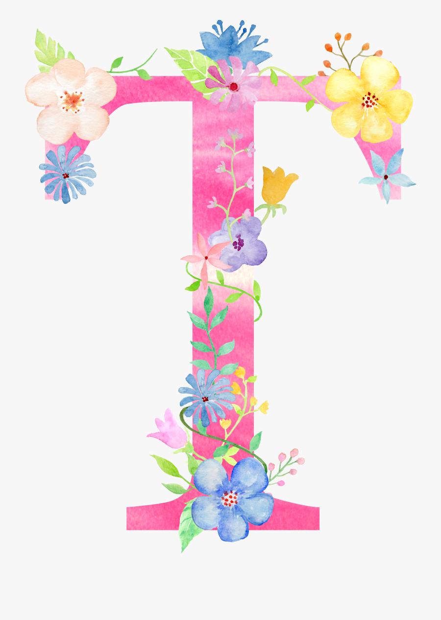 Transparent Floral Alphabet Clipart - Letter T Png Flowers, Transparent Clipart