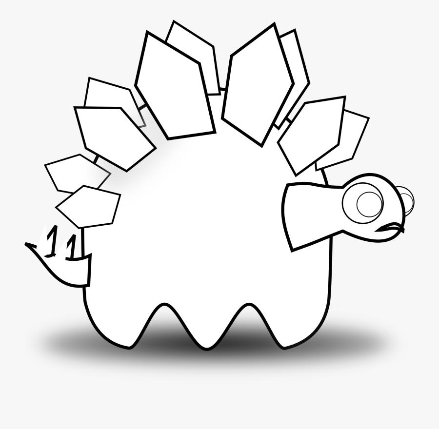 Stegosaurus Silhouette Outline Coloring Book Font Black - Illustration, Transparent Clipart