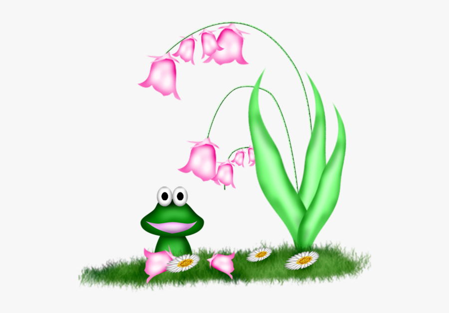 Frog Under The Flower Clipart, Transparent Clipart