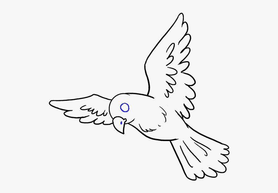 Clip Art How To Draw A Cartoon Bird - Flying Bird Drawing Easy, Transparent Clipart