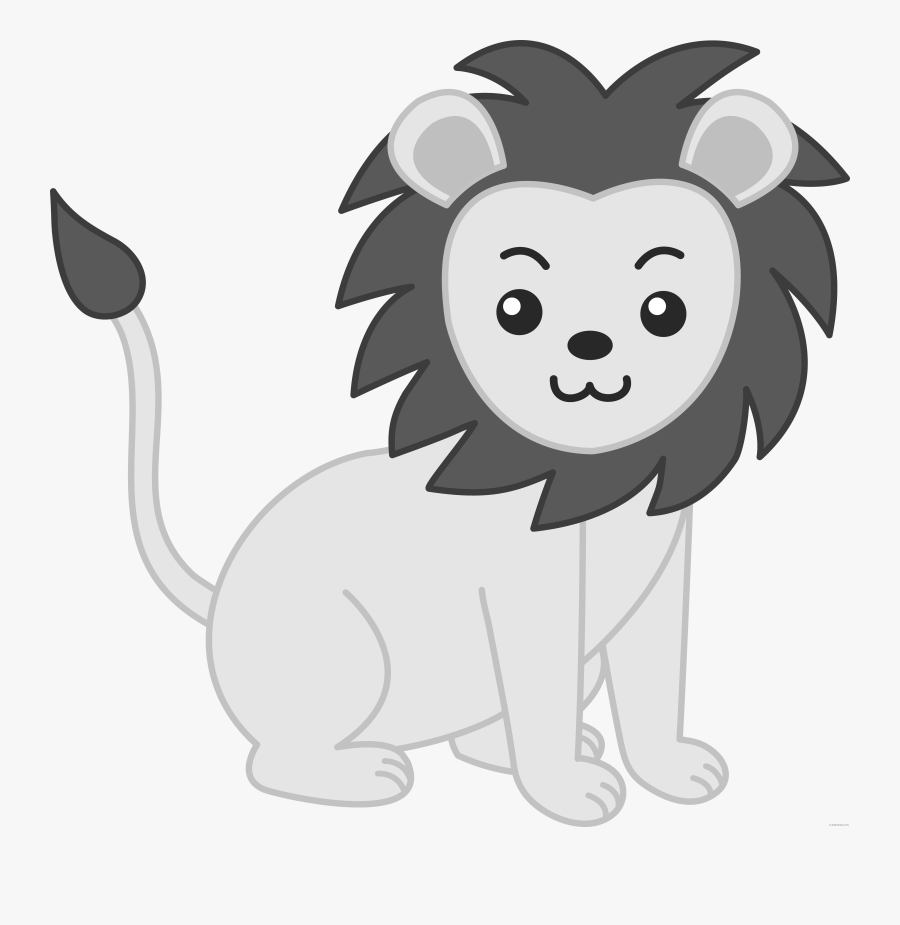 Baby Lion Animal Free Black White Clipart Images Clipartblack - Baby Animals Clipart Black And White, Transparent Clipart