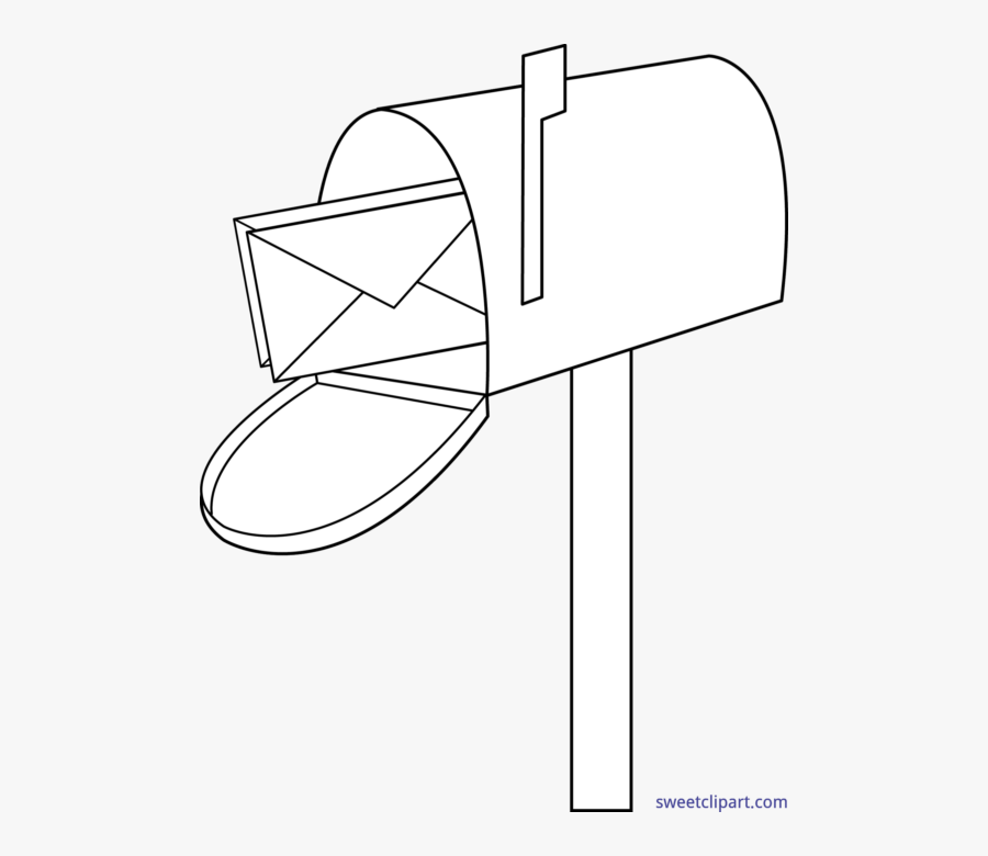 Lineart Mail Box - Black And White Mailbox Clip Art, Transparent Clipart